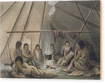 Interior Of A Cree Indian Tent, 1824 Wood Print by Lieutenant Hood