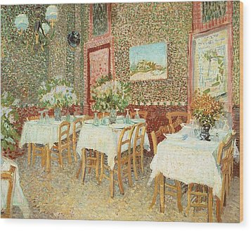 Interior Of Restaurant Wood Print by Vincent van Gogh