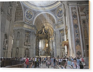 Interior Of St Peter's Dome. Vatican City. Rome. Lazio. Italy. Europe Wood Print by Bernard Jaubert