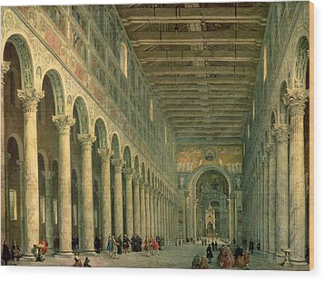 Interior Of The Church Of San Paolo Fuori Le Mura Wood Print by Giovanni Paolo Panini