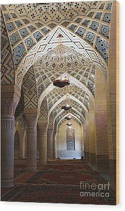 Interior Of The Winter Prayer Hall Of The Nazir Ul Mulk Mosque At Shiraz In Iran Wood Print by Robert Preston