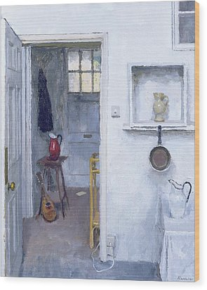 Interior With Red Jug Wood Print by Charles E Hardaker