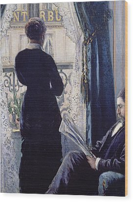 Interior Woman At The Window Wood Print by Gustave Caillebotte