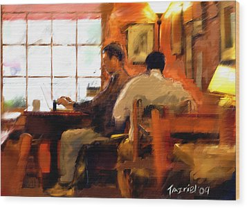 Wood Print featuring the painting Internet Coffee House by Ted Azriel