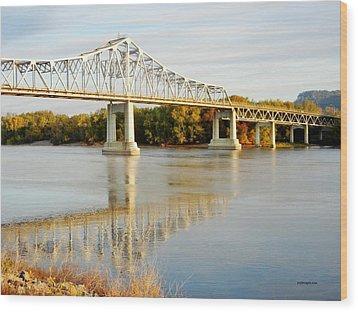Interstate Bridge In Winona Wood Print