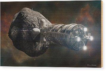Wood Print featuring the digital art Interstellar Colony Maker by Bryan Versteeg