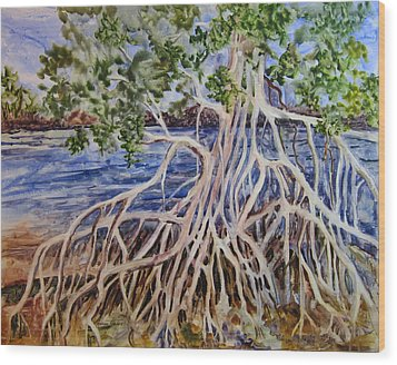 Wood Print featuring the painting Intertwined by Roxanne Tobaison