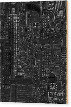 Into Nyc White On Black Wood Print by Meandering Photography