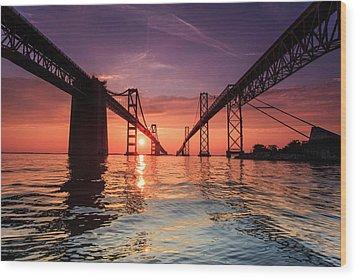 Into Sunrise - Bay Bridge Wood Print by Jennifer Casey