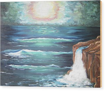 Wood Print featuring the painting Into The Ocean II by Cheryl Pettigrew