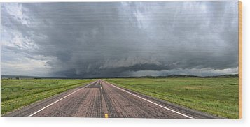 Into The Storm Wood Print by Sebastien Coursol