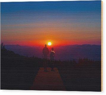 Into The Sunset Together Wood Print by John Haldane