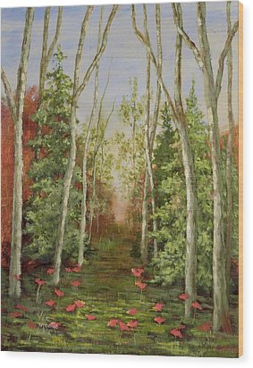 Wood Print featuring the painting Into The Woods Series-cedar by Vic  Mastis