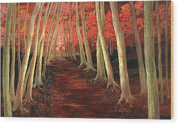 Wood Print featuring the painting Into The Woods Series-orange by Vic  Mastis