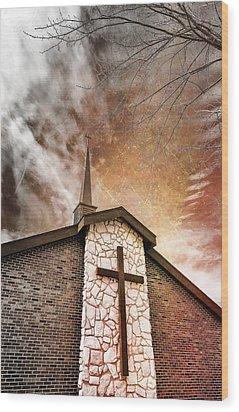 Intrepid Faith Wood Print by Bill Tiepelman