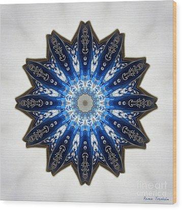 Intricate Shades Of Blue Wood Print by Renee Trenholm