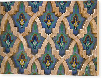 Intricate Zelji At The Hassan II Mosque Sour Jdid Casablanca Morocco Wood Print by Ralph A  Ledergerber-Photography