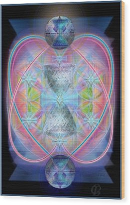 Intwined Hearts Chalice Gold Orb In Bright Synthesis Wood Print by Christopher Pringer