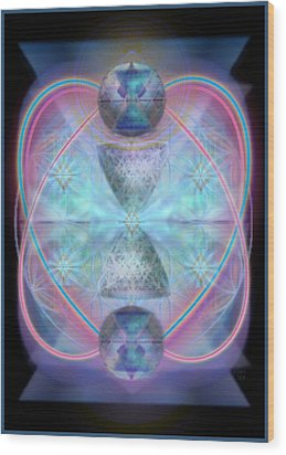 Intwined Hearts Chalice Shimmering Turquoise Vortexes Wood Print by Christopher Pringer