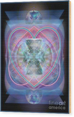 Intwined Hearts Chalice Wings Of Vortexes Radiant Deep Synthesis Wood Print by Christopher Pringer