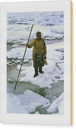 Wood Print featuring the photograph Inuit Seal Hunter Barrow Alaska July 1969 by California Views Mr Pat Hathaway Archives