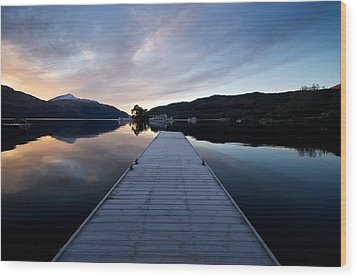 Wood Print featuring the photograph Invergluss Jetty A Winters Morning by Stephen Taylor