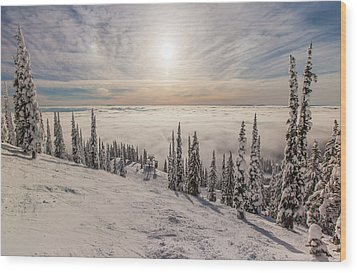 Inversion Sunset Wood Print by Aaron Aldrich