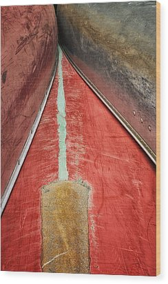 Inverted-stacked Canoes Wood Print by Gary Slawsky