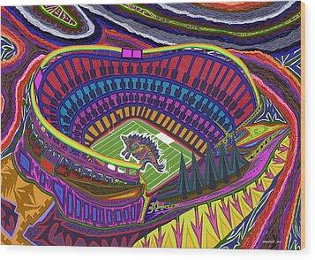 Invesco Field - Stegasaurus Stadium Wood Print by Robert SORENSEN
