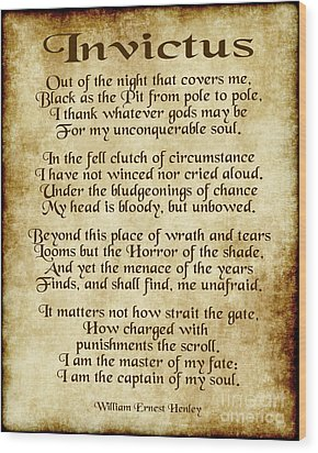 Invictus - Old Parchment Design Wood Print by Ginny Gaura