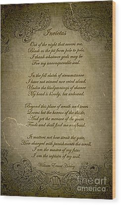 Invictus By William Ernest Henley Wood Print by Olga Hamilton