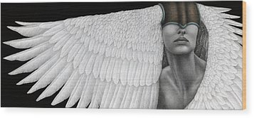 Wood Print featuring the painting Inward Flight by Pat Erickson