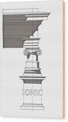 Ionic Order Wood Print by Calvin Durham