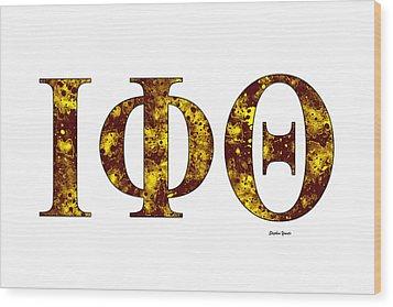 Wood Print featuring the digital art Iota Phi Theta - White by Stephen Younts