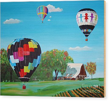 Iowa Balloons Wood Print by Phyllis Kaltenbach
