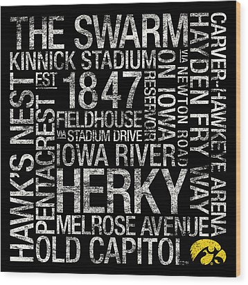 Iowa College Colors Subway Art Wood Print by Replay Photos