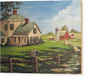 Cherokee Iowa Farm House Wood Print
