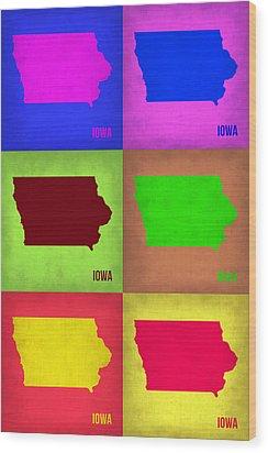 Iowa Pop Art Map 2 Wood Print by Naxart Studio