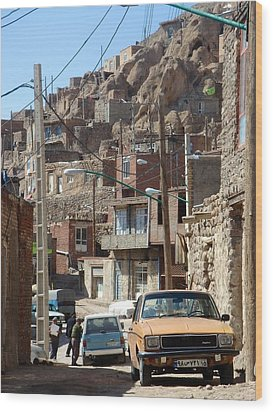 Iran Kandovan Cars And Wires Wood Print by Lois Ivancin Tavaf