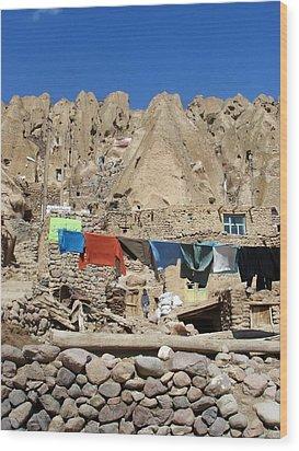 Iran Kandovan Stone Village Laundry Wood Print by Lois Ivancin Tavaf