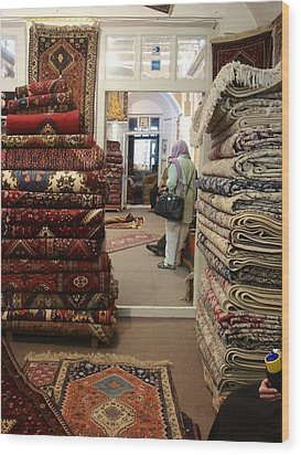 Iran Persian Carpets Wood Print by Lois Ivancin Tavaf
