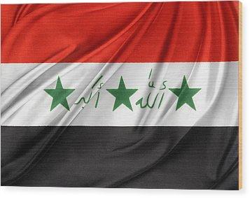 Iraq Flag Wood Print by Les Cunliffe