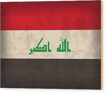 Iraq Flag Vintage Distressed Finish Wood Print by Design Turnpike