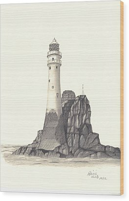 Ireland Lighthouse Wood Print by Patricia Hiltz