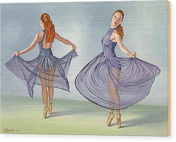 Irina Dancing In Sheer Skirt Wood Print by Paul Krapf