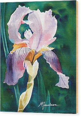 Wood Print featuring the painting Iris 1 by Marilyn Jacobson