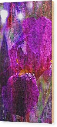 Iris Abstract Wood Print by J Larry Walker