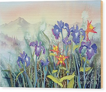Wood Print featuring the painting Iris And Columbine II by Teresa Ascone