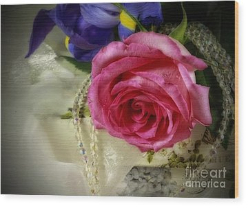 Iris And Rose On Vintage Treasure Box Wood Print by Inspired Nature Photography Fine Art Photography