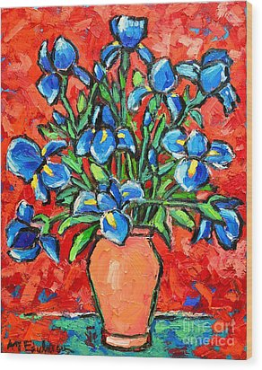 Iris Bouquet Wood Print by Ana Maria Edulescu